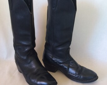 Vintage Black Leather Georgia Cowboy Boots // Work Boot Size 8 Wide Mens