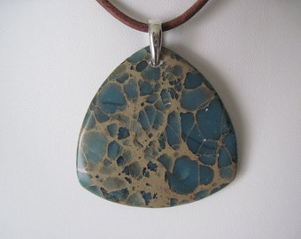 Necklace  variscite  pendant on  brown  leather