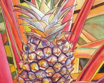 Kauai Pineapple II print 8x10 from Kauai Hawaii orange purple