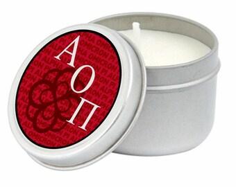Alpha Omicron Pi Candle Tin
