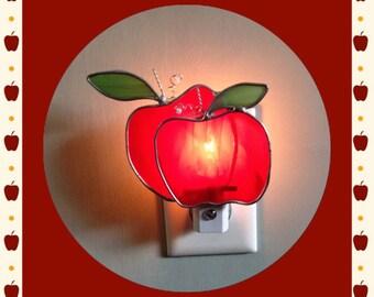 Apple, Stained Glass Night Light/Sun Catcher, Custom Made, Teacher Gift