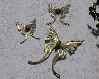 Set of Three Brass and Wood Butterfly Wall Hangings - Home Interiors (Homco)