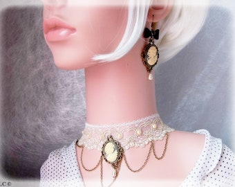 Cameo necklace bronze romantic vintage lace white wedding