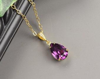 Amethyst Necklace - Swarovski Necklace for Bridesmaids - Purple Necklace Gold - Swarovski Jewelry - Wedding Jewelry - Bridesmaid Jewelry