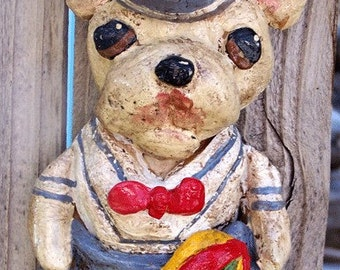 Folk Art Vintage French Bulldog Boy Sailor Doll Ornament