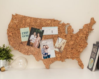 Corkboard US Travel Map with States Engraved - Large Modern Hanging United States Map, Wood Map Alternative