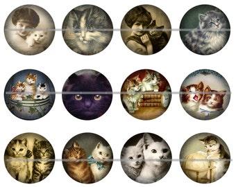 """Victorian Cats, Cat Pins, Cat Magnets, Cat Cabochons, 1"""" Inch Flat, Hollow Backs, Cabochons 12 ct."""