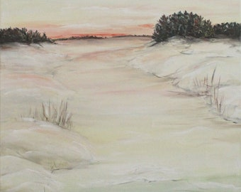 Frozen river,Original acrylic painting on canvas. Ready to hang