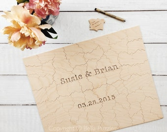 40 pc Wedding Guest Book Puzzle, custom guestbook alternative, WOOD puzzle guest book, Bella Puzzles™, rustic wedding, boho wedding
