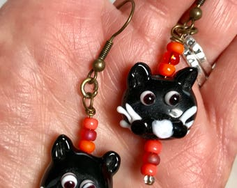 Halloween Black Cats Lampwork Glass Dangle Earrings Doodaba