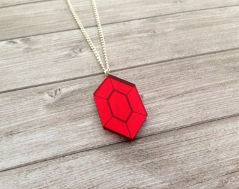 Zelda red rupee necklace - The Legend of Zelda, Nintendo, Breath of the Wild, geek, cute, japanese, Link, Ganondorf, lasercut acrylic