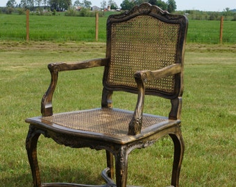 French Style Cane Arm Chair / Dining Host Chair / Accent Chair ~ 2 Available