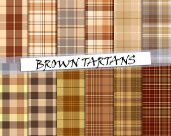 Brown tartan pattern digital paper: scottish plaid patterns in brown cream and yellow tones; for commercial use