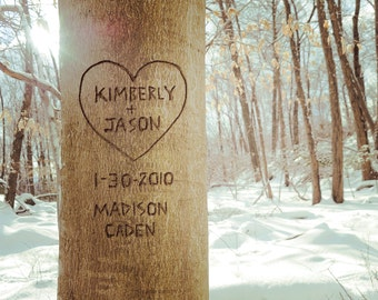 Winter Carved Heart Tree, Personalized Winter Decor, Winter Anniversary Print, Winter Wedding Gift, Carved Heart Valentine's Day Gift