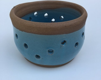Handmade Blue Planter pot -great for herbs- succulents -nice gift- pottery-ceramic- handmade pottery