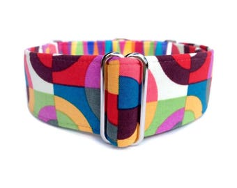 The Eclectic Hound's Groovy Kaleidoscope Dog Collar - 1 inch or 1.5 inch Retro Rainbow Geo Circles and Stripes Martingale or Buckle Collar