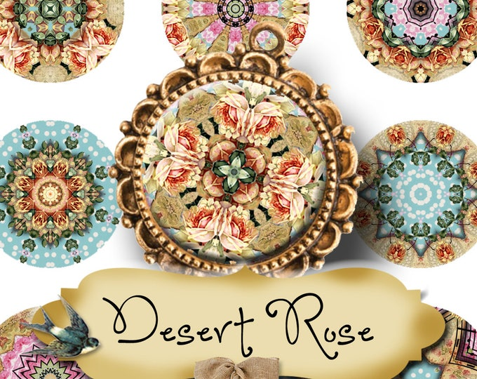DESERT ROSE•1x1 Circle Images•Printable Digital Images•Cards•Gift Tags•Stickers•Magnets•Digital Collage Sheet