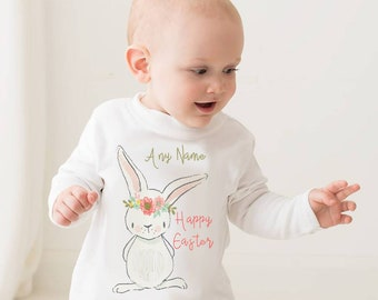 Happy Easter personalised top - easter bunny, baby shower, toddler top, Easter T-shirt, long sleeve T-shirt, 1st Easter, First Easter, baby