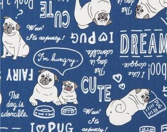 219785 dog Oxford fabric animal word text dark blue from Japan