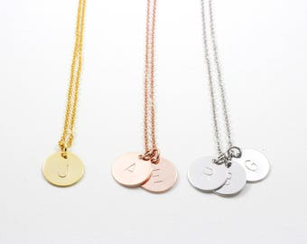 Personalized Disc Necklace | Coin Necklace | Initial Necklace | Monogram Necklace | Bridesmaid Gift | Graduation Gift | Mothers Day Gift
