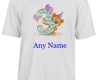 Personalised 3rd Birthday T Shirt  *Choice of name colours*