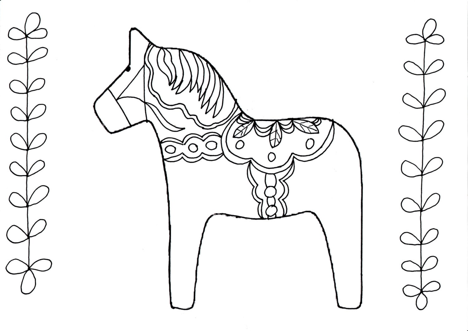 Art therapy adult coloring sheet paint a swedish dalahorse