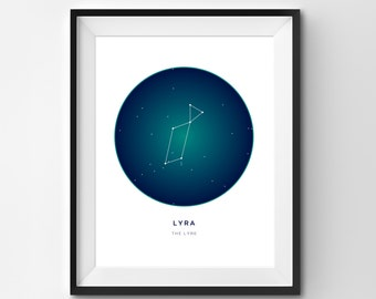 Lyra Printable | Lyra Art Print | Constellation Printable | Constellation Art | Constellation | Printable Art | Stars | Star Art