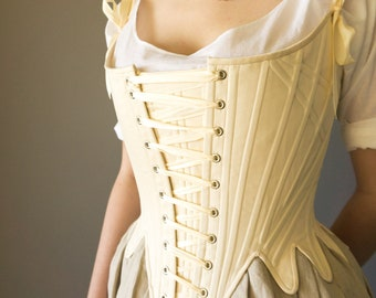 Front Lacing Stays 1780's Georgian Corset in Synthetic Whalebone 18th Century - In Stock & Ready to Ship Sizes XS-XXL