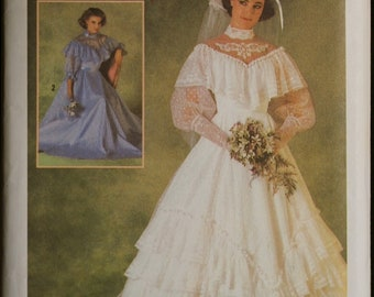 Simplicity 6765 Misses Southern Belle Style Wedding Gown or Bridesmaid Dress Vintage Sewing Pattern  Sz 8