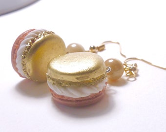 Earrings - pink and gold polymerclay two-tone macaroon