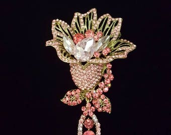 Large pink rhinestone lily flower brooch pin with dangling gem - Iridescent aurora borealis rhinestones - wedding, bridal, bouquet