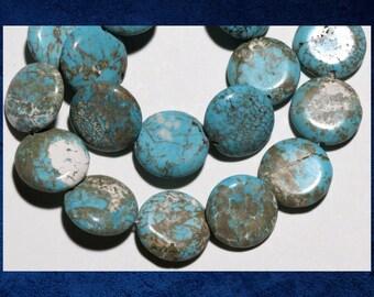 "Magnesite, Turquoise - 15"" strand of 20mm blue flat round gemstone beads. #MAG-090"