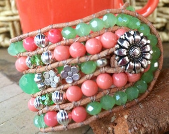 Handmade Beaded Cuff Bracelet, mint green, coral and metal leather wrap bracelet