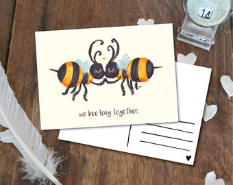 We bee long together - Postcard with Illustration, bee bees black yellow