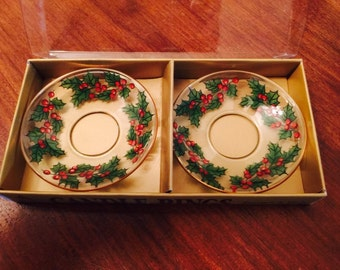 Vintage Christmas Glass Candle Holder Decor Holly Wreath Holiday Table 1970s Original Packaging & Vintage Chyna Plate Holiday Christmas Santa Party Plastic