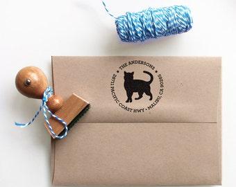 Custom Address Stamp - Cat Return Address Stamp, customized gift for holidays, housewarming and weddings, school