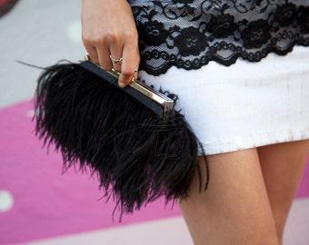 Black Ostrich Feather Clutch Purse with Swarovski Jeweled Clasp for Wedding Prom Evening