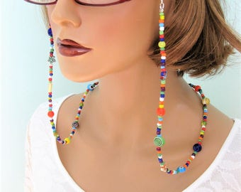 Colorful Beaded Eyeglass Chain, Eyeglass Chains, Glasses Chain, Eyeglass Holder, Eyeglass Chain, Beaded Necklace, Eyeglass Necklace, EH043