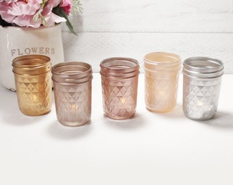 Metallic Painted Quilted  Mason Jelly Jar Candle Holders-Country Decor- Country-Shabby Chic-French Chic