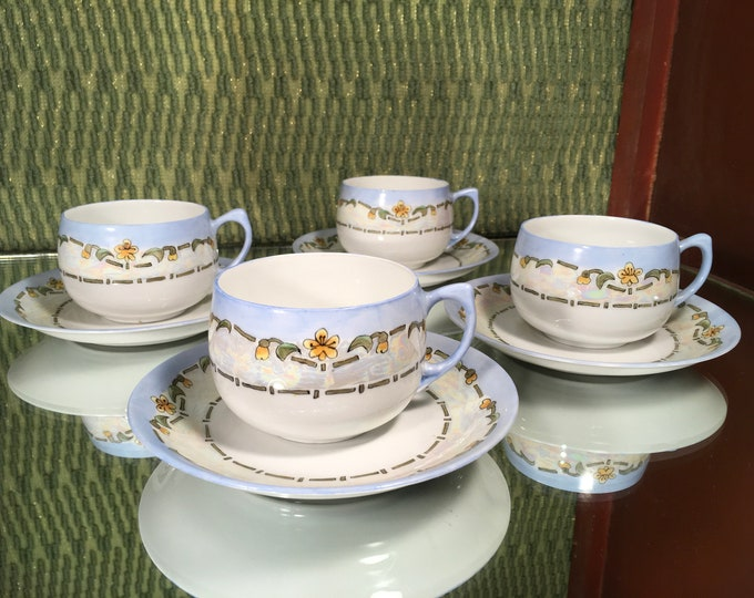 Set of Four D & B Blue Floral Tea Cups and Saucers, bone china, Germany