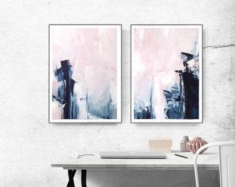 Bedroom Print Set, PRINTABLE Wall Art, Set Of 2 Prints, Abstract Wall Art
