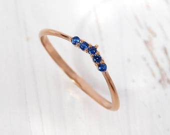 Stacking ring gold, Delicate ring, Tiny ring, Sapphire ring, Blue stone ring, Dainty ring, Blue sapphire ring, September birthstone