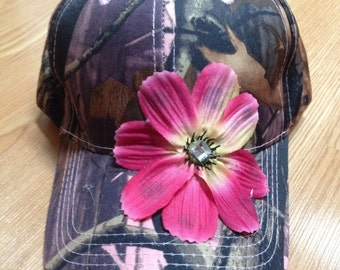 Camo Real Tree Style Cap Pink Girl Ball Cap Camo with Flower