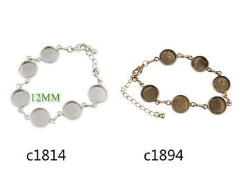 5PCS 2013-2014 new design fit 12mm round cabochons bracelet with 6pcs 12mm bezels