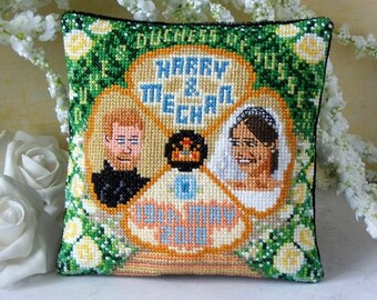 Harry & Meghan Mini Cushion Cross Stitch Kit