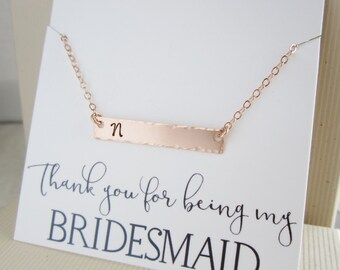 Initial necklace Rose gold bar necklace, personalized bridesmaid necklace, initial bar necklace, blush pink wedding jewelry, horizontal bar
