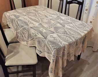 Vintage tablecloth, Tablecloth, Big tablecloth, White cotton tablecloth, Handmade tablecloth from 1970, Crochet oblong tablecloth