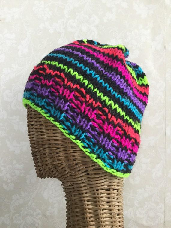 80s rainbow striped beanie hat hand knit