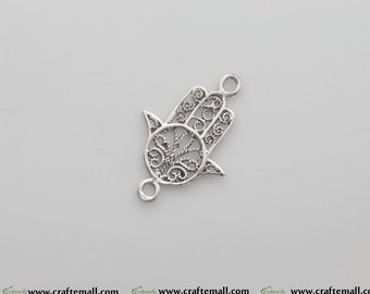 SALE: 1 Sterling silver Hamsa charm - Sterling Hamsa connector 29mm - canlc003