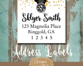 Graduation Address Labels, Graduation Tags, Stickers, high school grad, college grad, Invitation Return Address labels